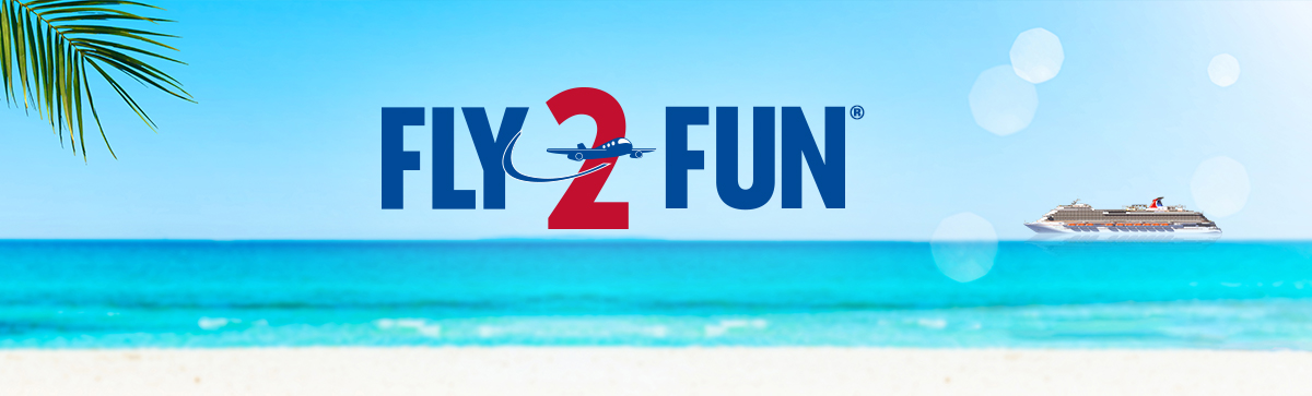 fly2fun program logo over the sky overlooking the ocean
