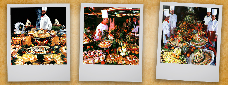 chefs shows off their elaborated dishes in polaroid themed photos