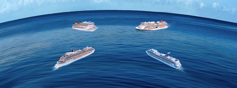 four carnival ships at sea uniting for the fun ship meetups