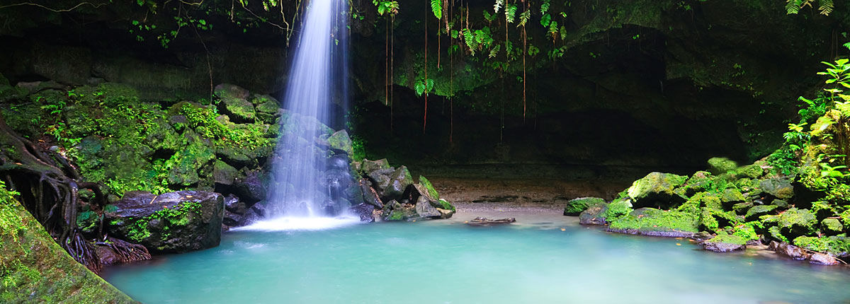 waterfall in the tropical forests of dominica