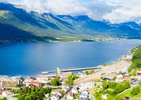 aerial view of the romsdalsfjorden fjord and the andalsnes town