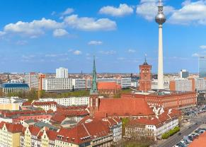 view of the berlin cityscape on a sunny day