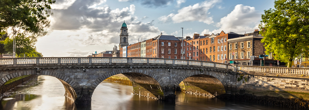 view of st. patricks cathedral and a bridge on the liffey river