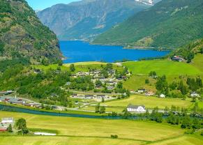 beautiful green valley and fjord of flaam, norway