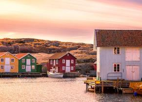 beautiful landscape view of sunset and houses in gothenburg