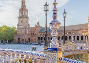 the grande and colorful square of spain in seville