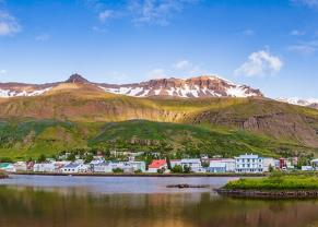 panoramic view of seydisfjordur, iceland with mountains in the background