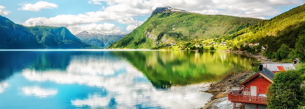 beautiful serene lustrafjorden on a bright day