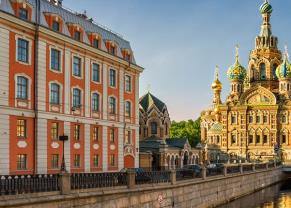 the cathedral of our savior on spilled blood and beautiful canal in st. petersburg, russia