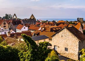 panoramic view of visby and it's beautiful buildings