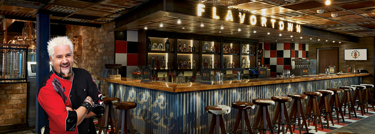 guy fieri, view of the bar at guy's pig & anchor bar-b-que smokehouse | brewhouse