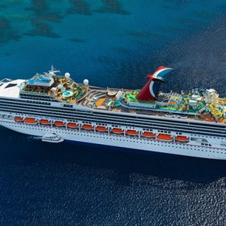 banner with images of yellow waterslide cruise ship out to sea and chairs and umbrella beside a pool