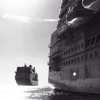 black and white: two ships at sea