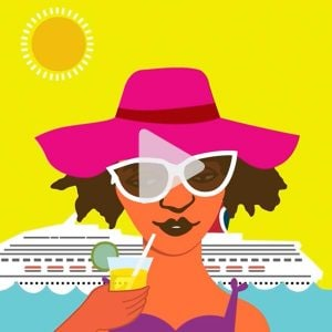 Animation of woman sipping a drink in front of Carnival ship, link to Vimeo video
