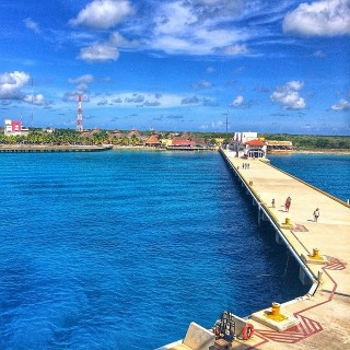 view of Cozumel dock from carnival ship