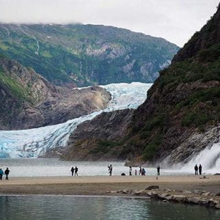 Banner with images from Mendenhall Glacier excursion in Alaska