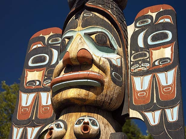 close look at a totem pole in alaska