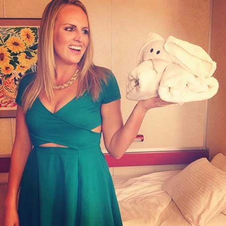 woman holding her towel animal