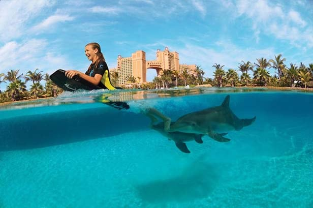 girl riding a body board with dolphins in atlantis
