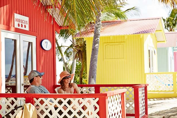 a couple enjoying their bungalow in princess cays