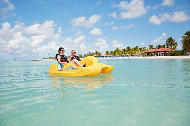 two women paddle wheeling in princess cays