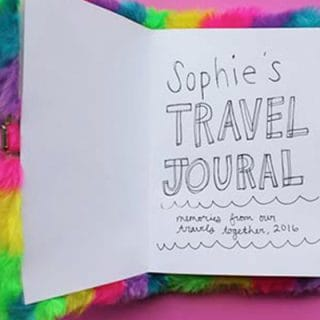 Banner with 3 images of the rainbow journal opend to see plane tickets, bracelets and Sophie's Travel Journal text