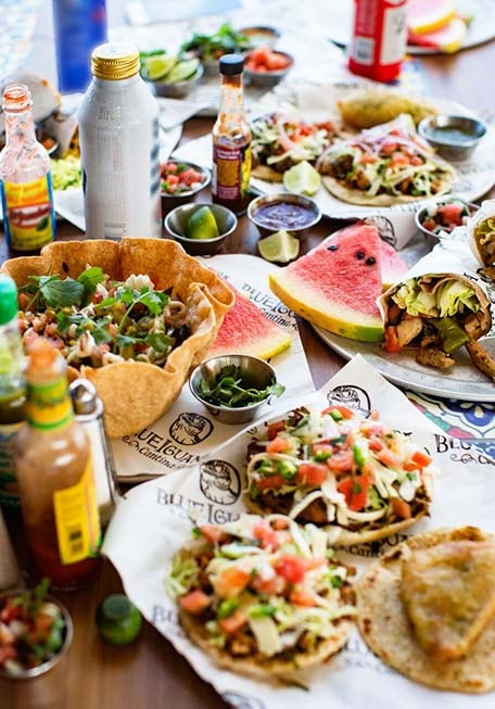 Tacos, taco salad and drinks