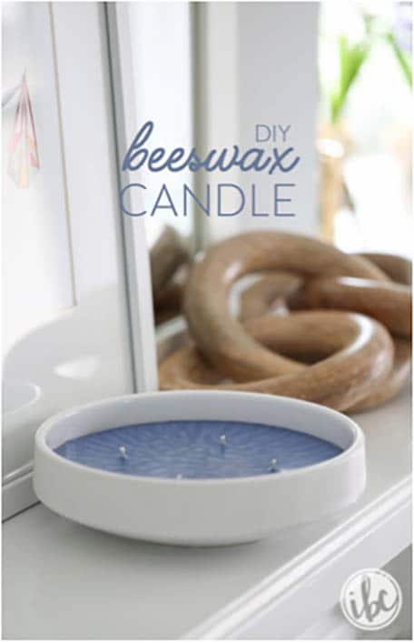 DIY beeswax candle promo image with white holder