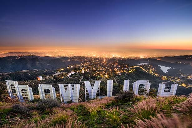 sunset view of Los Angeles from behind the Hollywood sign