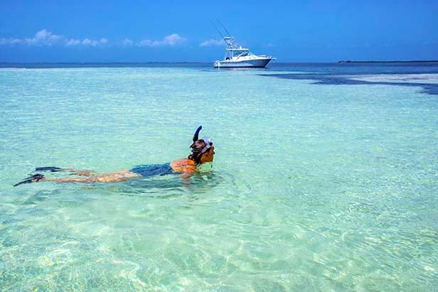 woman snorkeling in the crystal blue waters of the Caribbean