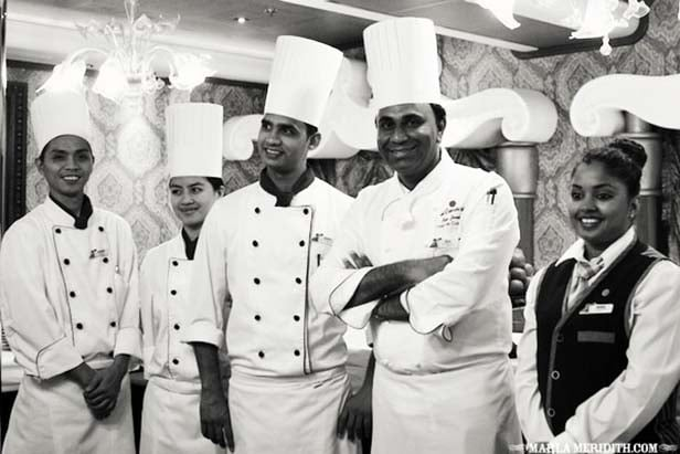 Black and white image of five chefs from the Chefs Table experience on the Carnival Sunshine