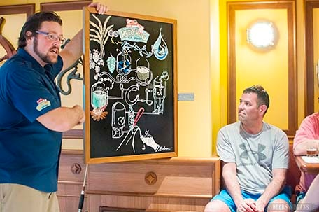 Brewmaster Colin Presby with chalkboard illustration explains the brewing process during the tasting tour