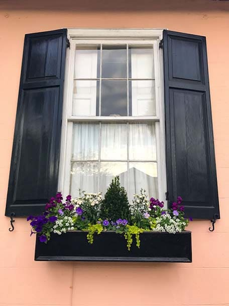 Close up of pink building in Charleston with colorful flowers in a flower box