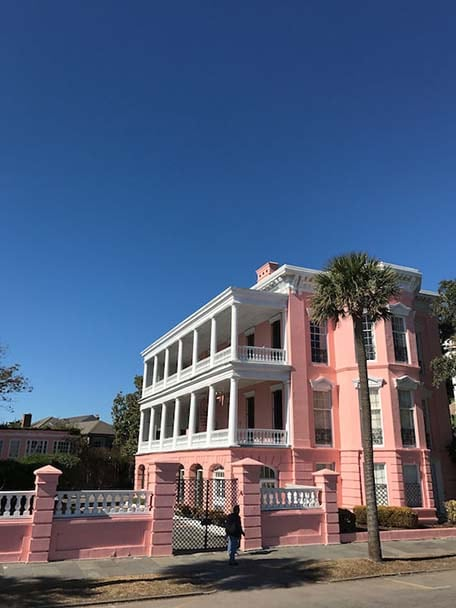 Bright pink building in Charleston