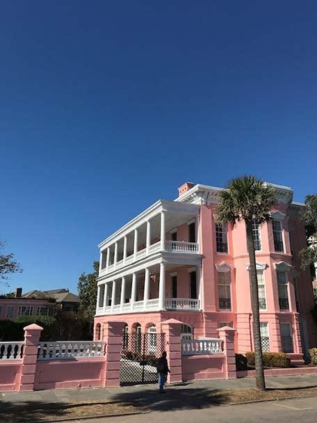 Bright pink building in Charleston