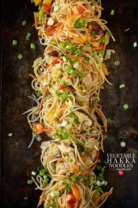 Vegetable Hakka Noodles with text overlay