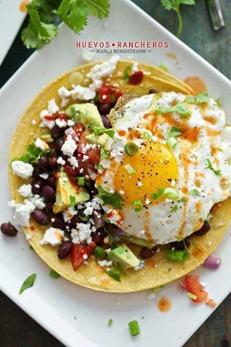 Huevos Rancheros dish with text overlay