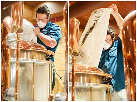 Two images of Brewmaster making beer by pouring a big white bag into a tank