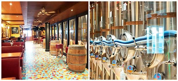 Two images of Redfrog Pub and Brewery on Carnival Vista with red booths, wood barrel tables and large silver tanks