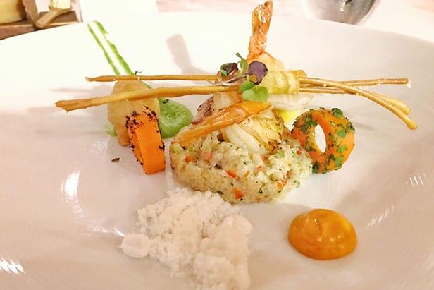 Beautifully decorated shrimp entree