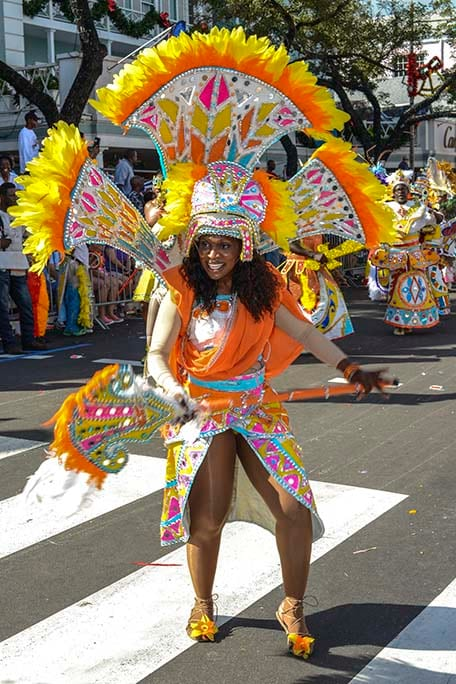 junkanoo dancer in traditional costume