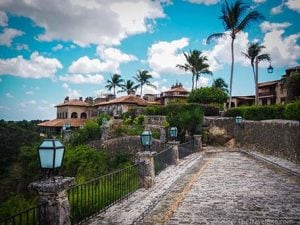 Cobblestone streets in Altos de Chavon village in La Romana, Dominican Republic