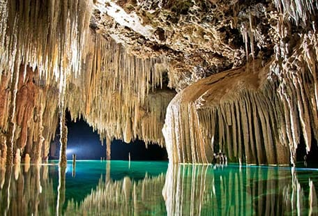 stalactites and stalagmites in cozumel