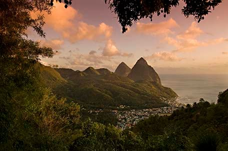 st lucia at sunset