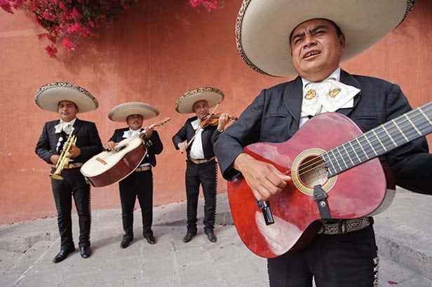mariachi band playing on the streets of Mexico