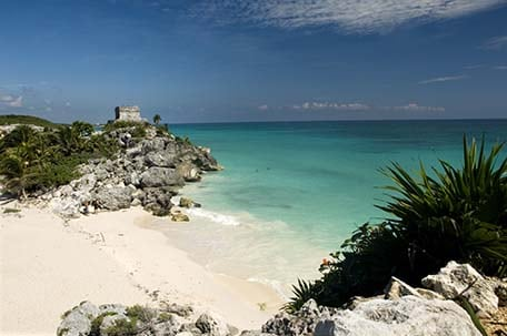 Ruins along the city of tulum, mexico