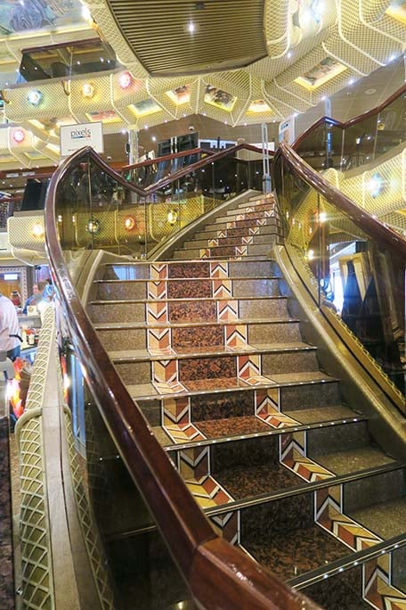 A set of stairs on Carnival Conquest