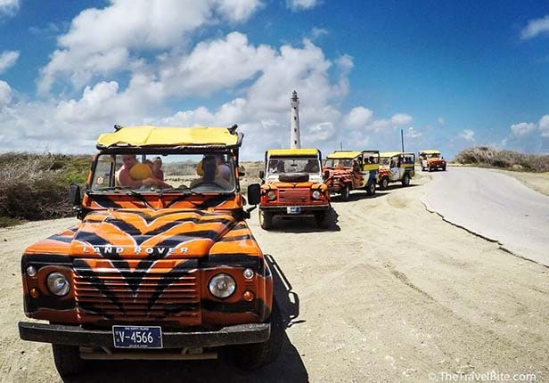 Safari–style vehicles lined up in Aruba
