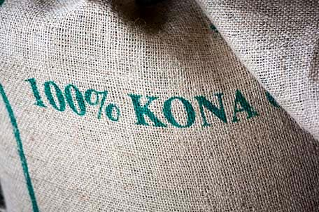 bag of 100% kona coffee beans