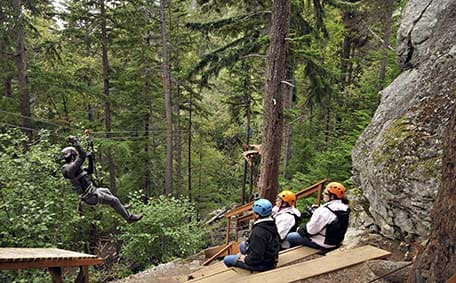 people zip lining in Alaska